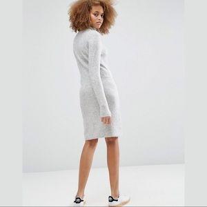 ASOS Dresses - ASOS Lounge Knit Dress Elastic Waist Gray turtNeck